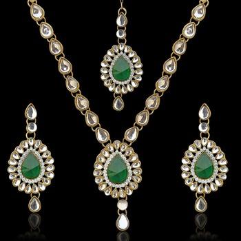 Antique jewelry rama green kundan like work indian pakistani ethnic necklace set mw82g