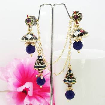 Meenakari Kashmiri Jhumki Peacock Blue Brown