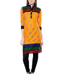 Buy Orange printed  Cotton  kurtas-and-kurtis long-kurti online