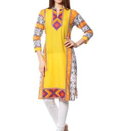 Buy Yellow printed  Cotton  kurtas-and-kurtis long-kurti online