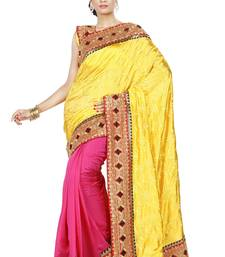 Buy Yellow and Pink embroidered silk saree with blouse half-saree online