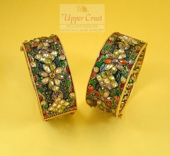 High End Meena Broad Openable Bangles Kada Size 2.6