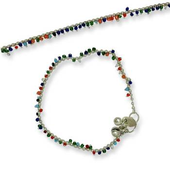 Mischika Multi color seed beaded metal Anklet