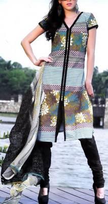 Cotton Dress Material With Chiffon Dupatta Unstitched Suit D.No 2551