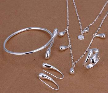 925 sterling silver drop jewelry sets necklace bracelet bangle earring ring