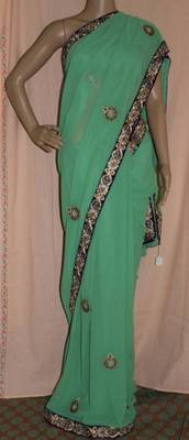 Pista green Georgette embroidered saree