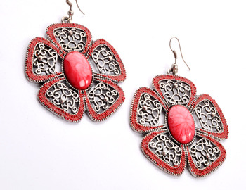 Red Floral Earring
