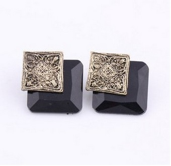 Vintage carved square black simulated Gemstone Earrings