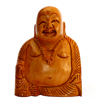 Buy Hand Carved Wooden Happy Laughing Buddha Statue Online