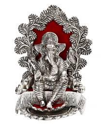 Buy Silver Finish Metal Ganesh with Throne housewarming-gift online