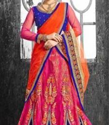Buy pink embroidered net unstitched lehnga choli lehenga-choli online