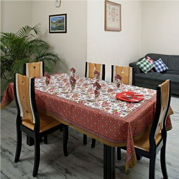 Bright Red and Blue Floral Gold Print Table cover set