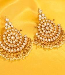 Buy Kundan & Pearl Handcrafted Chaand Baali punjabi-jewellery online