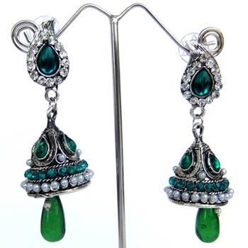 Green Jhumki Danglers