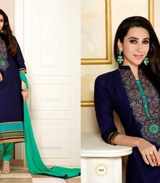 Buy Navy Blue and Green embroidered cotton semi stitched salwar with dupatta black-friday-deal-sale online