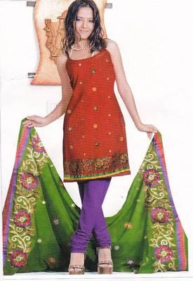 Just Women - Crimson Red Unstitched Satin Salwar Suit