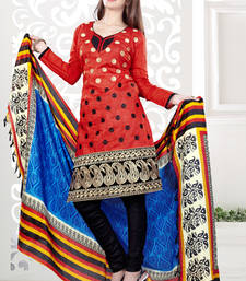 Buy Styles Closet Red embroidered Chanderi unstitched salwar with dupatta diwali-discount-offer online