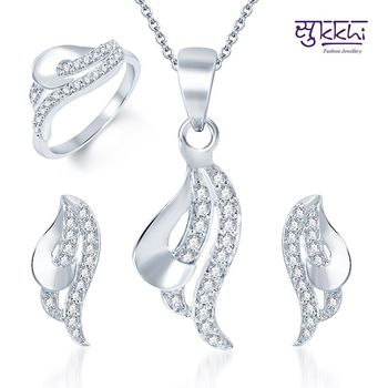 Sukkhi Magnificent Rhodium Plated CZ Pandent Set and Ring Combo