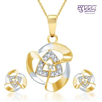 Sukkhi Elegant Gold and Rhodium Plated CZ pendants Set