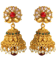 Buy Traditional Ethnic Thumri Jhumki with Maroon Drop & crystals for Women danglers-drop online