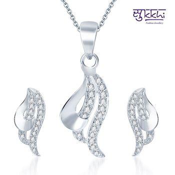 Sukkhi Classy Rodium plated CZ pendants Set