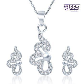Sukkhi Lavish Rodium plated CZ pendants Set