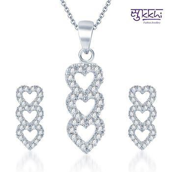 Sukkhi Attractive Rodium plated CZ pendants Set