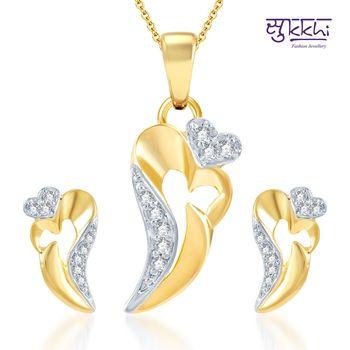 Sukkhi Stunning Gold and Rhodium Plated CZ pendants Set