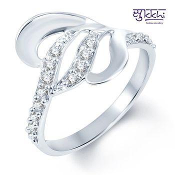 Sukkhi Gleaming Rodium plated CZ Studded Ring