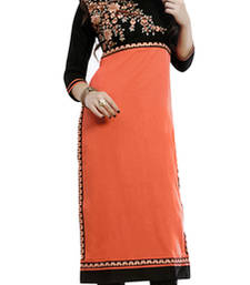 Buy Orange and Black embroidered Cotton kurtas-and-kurtis kurtas-and-kurti online