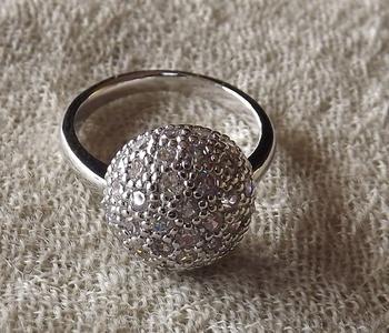 Diamond Ring in White Metal