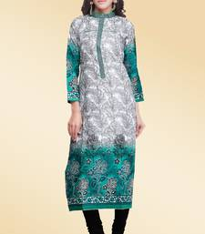 Buy Green & Grey Pure Cotton Stitched Printed With Embroidery Kurti kurtas-and-kurti online