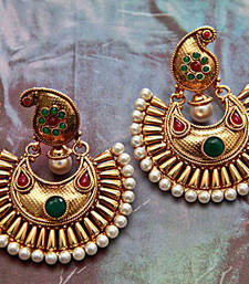 Buy Golden Paisley Earrings - Green & Red hoop online