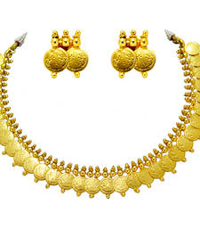 Buy South Indian Style Gold Plated Temple Coin & Artificial Traditional Necklace Set necklace-set online