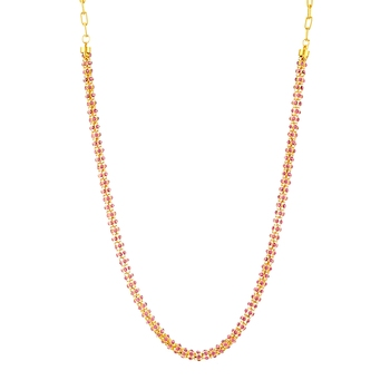 Traditional Ethnic Light Pink Crystal Beauty Gold Plated Chain with Crystal Stones For Women