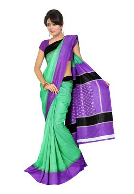 Fabdeal Green & Purple Silk Blend Printed Saree With Blouse Piece