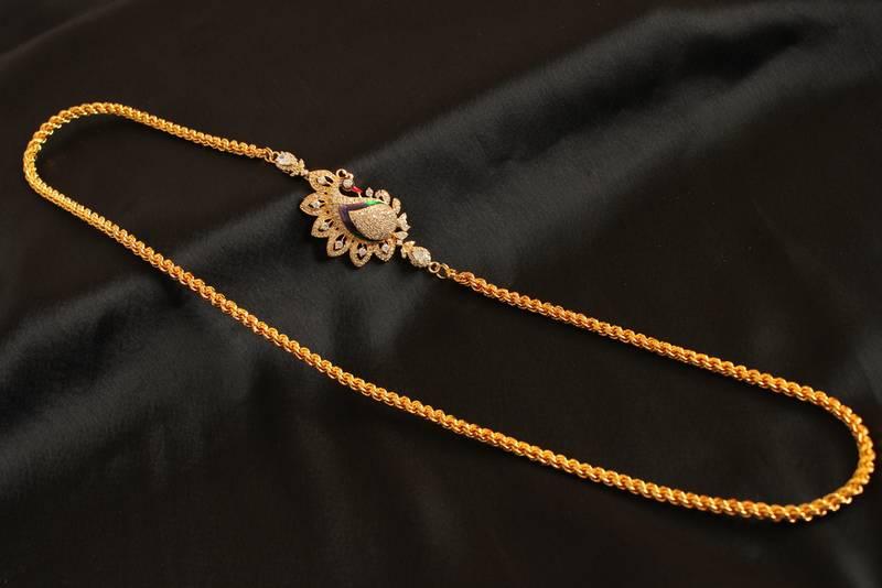 Buy Gorgeous Goldplated Multicolour Peacock Mugappu Chain