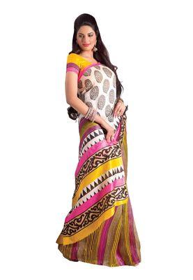 Fabdeal White & Yellow Bhagalpuri Silk Printed Saree With Blouse Piece