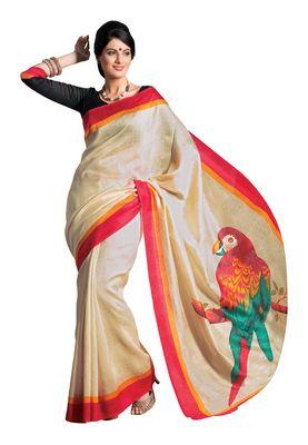 Fabdeal Cream & Red Bhagalpuri Silk Printed Saree With Blouse Piece