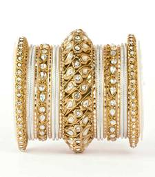 Buy Traditional solid colored kundan bangle set punjabi-jewellery online