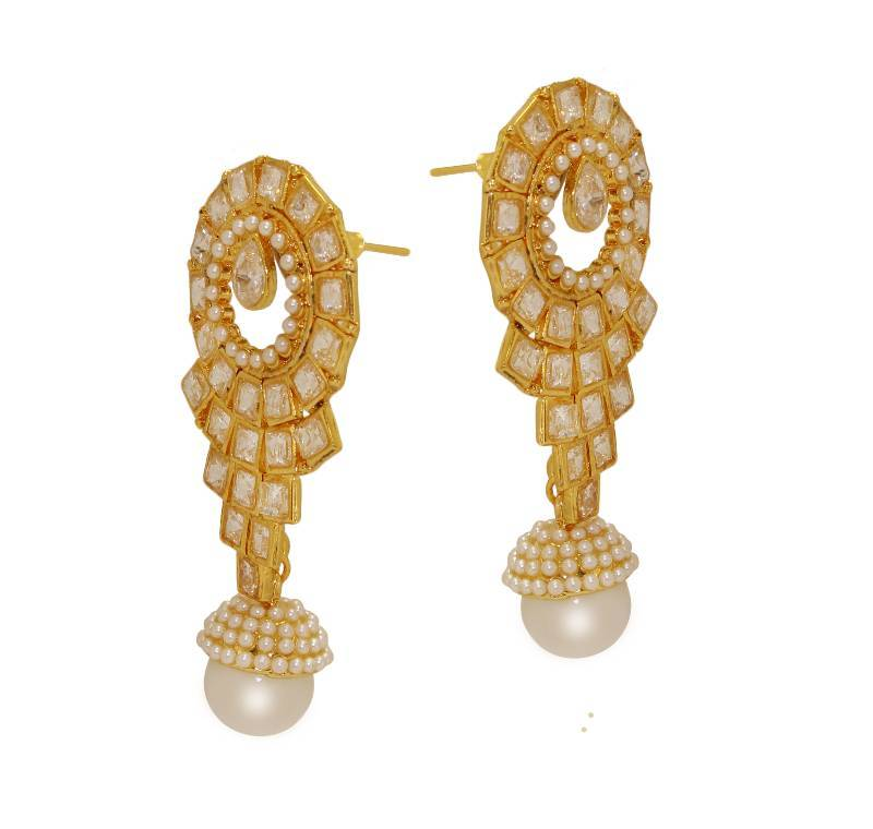 Buy Beautiful Design & Modern Style Gold Plated kundan with pearl ...
