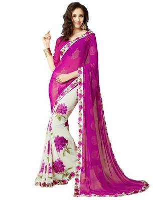 Awesome Pink Printed Georgette Saree