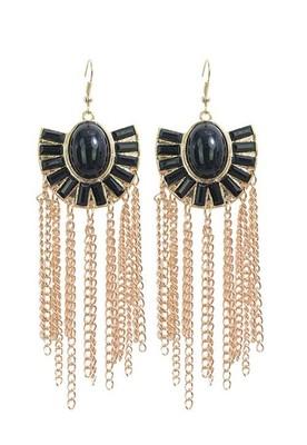 Golden Drop Earrings-Black