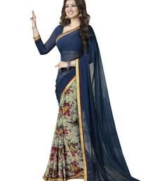 Buy Aisha Georgette Designer Blue Saree georgette-saree online