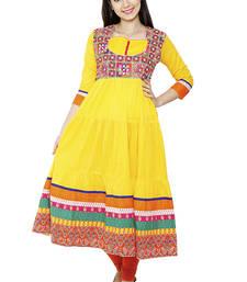 Buy YELLOW cotton ethnic kurti heavy-work-kurtis online