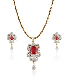 Buy Western Collection Red color oval stone studded Pendent Set Pendant online