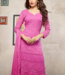 Buy Pink embroidered Georgette semi stitched salwar with dupatta straight-suit online