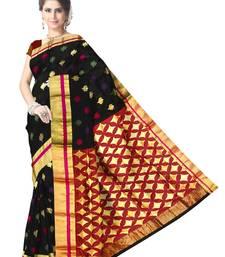 Buy Black Handwoven Pure Silk Chanderi Saree with Blouse chanderi-saree online