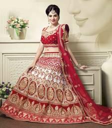 Buy Red embroidered silk unstitched lehenga bridal-lehenga online