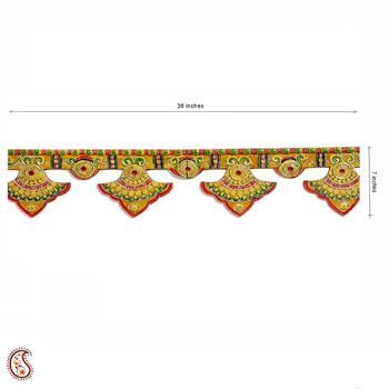 Diwali decoration - Fancy Yellow Wood and Clay work Door Frame Hanging { Bandhanwar }
